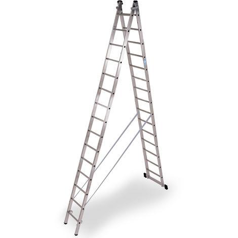 Escalera industrial de Aluminio tijera un acceso con base 2 x 15 peldaños SERIE STRONG