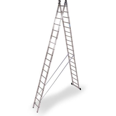 Escalera industrial de Aluminio tijera un acceso con base 2 x 18 peldaños SERIE STRONG