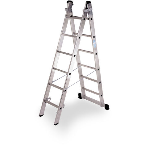 Escalera industrial de Aluminio tijera un acceso con base 2 x 6 peldaños SERIE STRONG