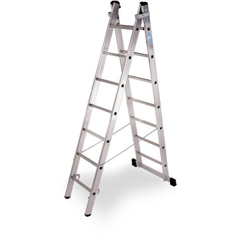 Escalera industrial de Aluminio tijera un acceso con base 2 x 7 peldaños SERIE STRONG