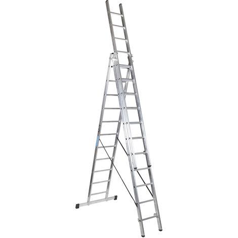 Escalera industrial de Aluminio triple tijera un acceso con tramo extensible 11 x 3 peldaños SERIE ROBUST