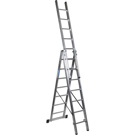 Escalera industrial de Aluminio triple tijera un acceso con tramo extensible 7 x 3 peldaños SERIE ROBUST