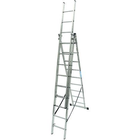 Escalera industrial de Aluminio triple tijera un acceso con tramo extensible 9 x 3 peldaños SERIE ROBUST