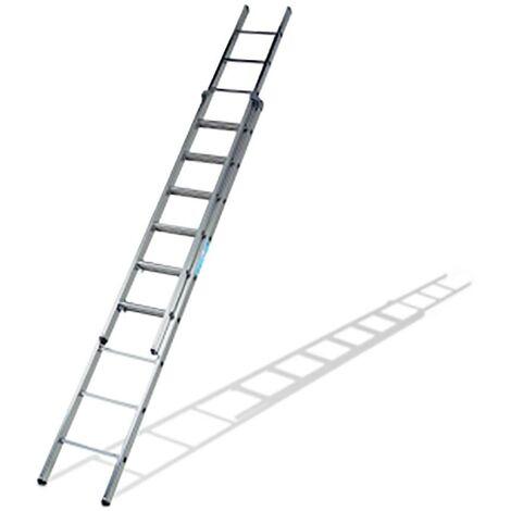 Escalera Industrial Doble 12 Peldaños 3,61/6,19Mt Aluminio Ktl