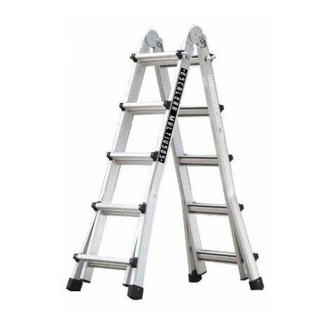 Escalera Industrial Multiusos Tijera 5,10Mt 10+10 Telescopica Aluminio Codiven