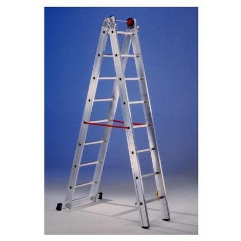 Escalera Industrial Transformables 2,40/4,05Mt 8 Peldaños Doble Con Base Aluminio Sve
