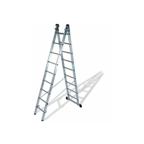 Escalera Industrial Transformables 2,77/4,57Mt 9 Peldaños Doble Con Base Aluminio Ktl
