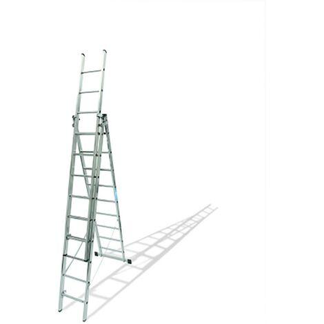 Escalera Industrial Triple Con Base 9 Peldaños 2,77/6,46Mt Aluminio Ktl