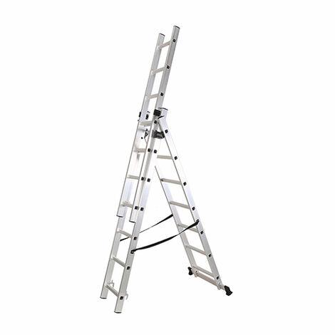 Escalera Industrial Triple Y Extensible 3 X 7 Peldaños De Aluminio