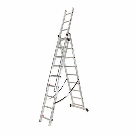 Escalera Industrial Triple Y Extensible 3 X 9 Peldaños De Aluminio