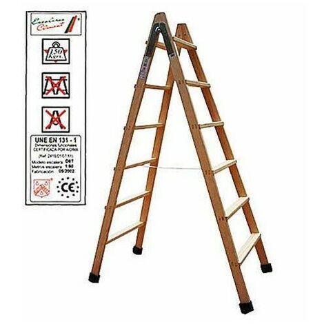 Escalera madera doble peldaño 6 peldaños