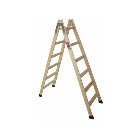 Escalera madera tijera de 7 peldaños.