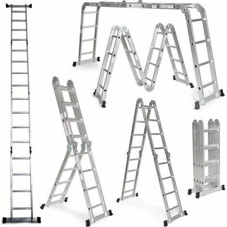 Escalera Multifunción 6 en 1 de aluminio 4,75M Plegable Multiuso