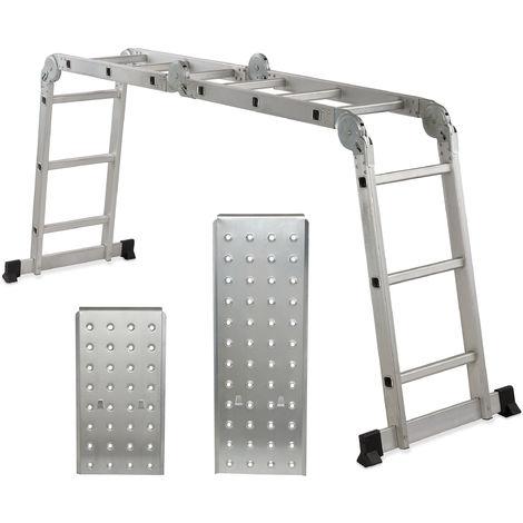 Escalera Multifunción Articulada, con Plataformas y 4x3 Peldaños, Plegable, Aluminio, 360 x 80 cm, Plateado