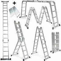 Escalera Multifunción de Aluminio 475Cm Multiuso 6 en 1 Plegable con Plataforma