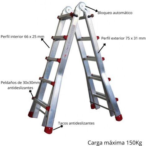 ESCALERA MULTIPOSICION TÉLESCOPIQUE, PELDAÑOS ANTIDESLIZANTES DE 30X30mm - APERURA EN TIJERA A DIREFENTES ALTURAS Y TOTALMENTE VERTICAL- CARGA MAXIMA 150KG-ALUMINIO- BLOQUEO CON CATRACA SEGÚN NORMA EUROPEA EN131- LIGERA Y ERGONOMICA
