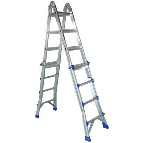 Escalera multiposiciones de aluminio 4+4 peldaños