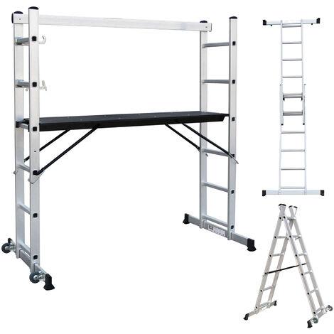 Escalera Multiusos, Andamio, 168 x 160 x 45 cm, EN 131, Carga máxima: 150 kg