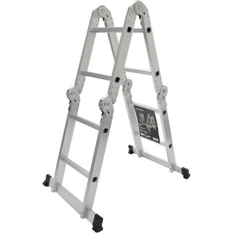 Escalera Multiusos, Escalera de Tijera, Aluminio, 4x2 Peldaños, 2,52m, Barra estabilizadora - MADER® | Hardware