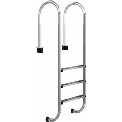 Escalera para Piscina de Acero Inoxidable de 3 Peldaños Escalera para Piscina Antideslizante 161 x 53 x 38 cm