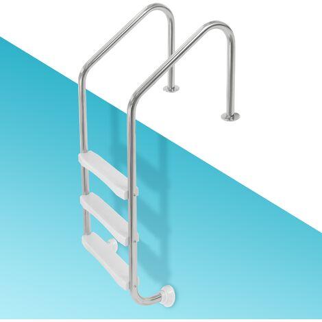 Escalera para piscina pool elevada con 3 peldaños acero inoxidable V2A pasamanos