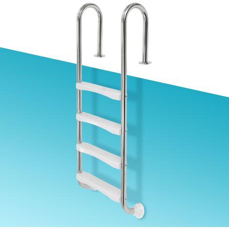 Escalera para piscina pool elevada con 4 peldaños acero redondo V2A pasamanos