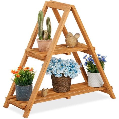 Escalera Plantas, 2 Pisos para Macetas, Plegable, Pirámidal, Interior y Exterior, Madera, 73 x 72 x 28cm, Gris