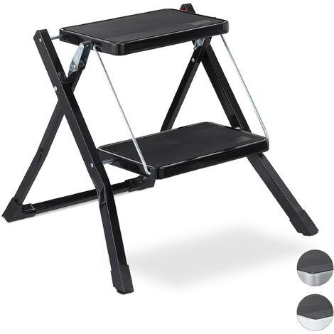Escalera Plegable 2 Peldaños, Escalerilla Cocina, Doméstica, Antideslizante, Hierro, 45 x 50 x 50 cm, Negro