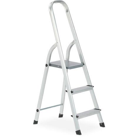 Escalera Plegable Aluminio, Antideslizante, Doméstica, hasta 150 kg, 3 Peldaños, Plateado