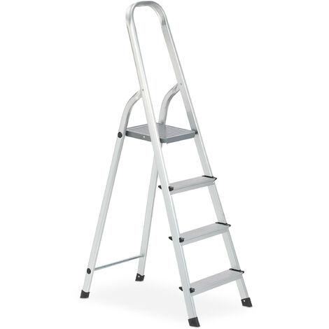 Escalera Plegable Aluminio, Antideslizante, Doméstica, hasta 150 kg, 4 Peldaños, Plateado