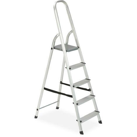 Escalera Plegable Aluminio, Antideslizante, Doméstica, hasta 150 kg, 5 Peldaños, Plateado