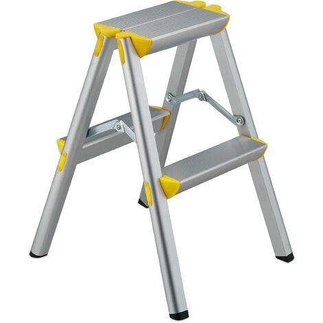Escalera Plegable Aluminio, Escalerilla Tijera Doméstica, hasta 150 kg, 3 - 5 Peldaños, Plateado y Amarillo