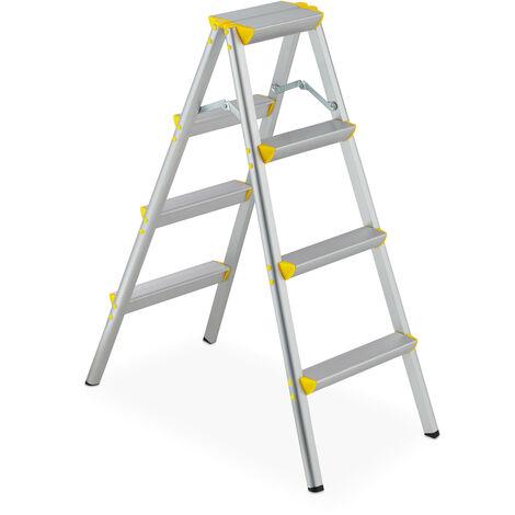 Escalera Plegable Aluminio, Escalerilla Tijera Doméstica, hasta 150 kg, 4 Peldaños, Plateado y Amarillo