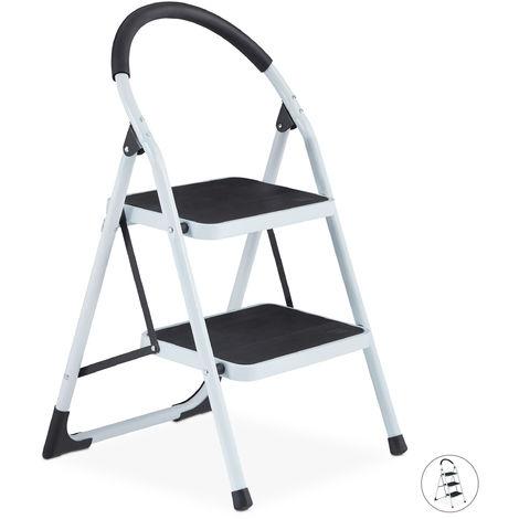 Escalera Plegable Antideslizante con Arco de Seguridad, 150 kg, 2 Peldaños, Acero, Blanco y Negro