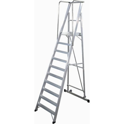 Escalera Plegable con plataforma y guardacuerpos 10 peldaños Móvil Profesional SERIE 2XL