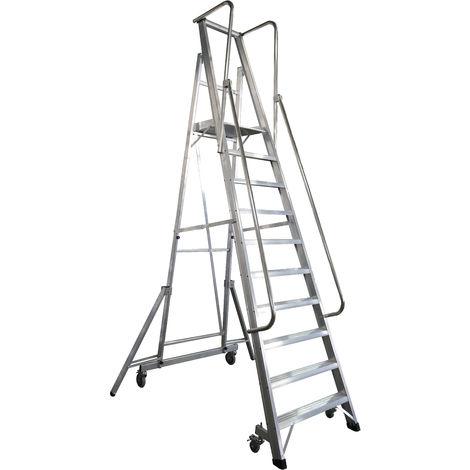 Escalera Plegable con plataforma y guardacuerpos 10 peldaños Móvil Profesional SERIE 2XL-S
