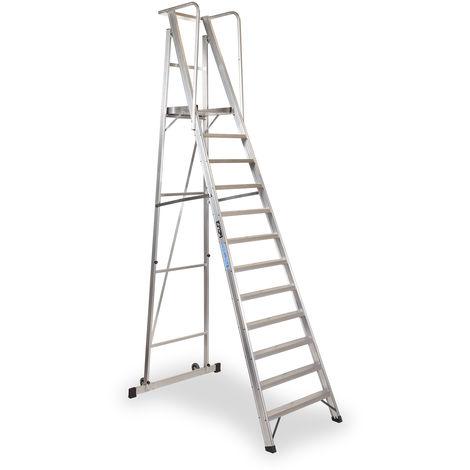 Escalera Plegable con plataforma y guardacuerpos 12 peldaños Móvil Profesional SERIE 2XL