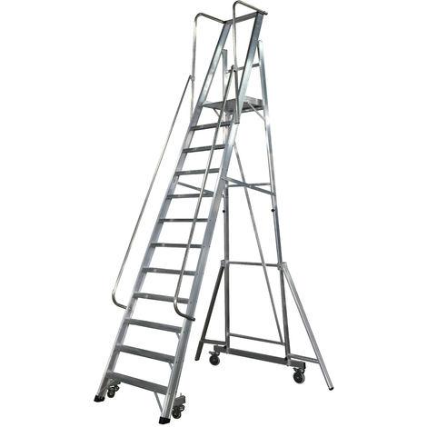 Escalera Plegable con plataforma y guardacuerpos 12 peldaños Móvil Profesional SERIE 2XL-S