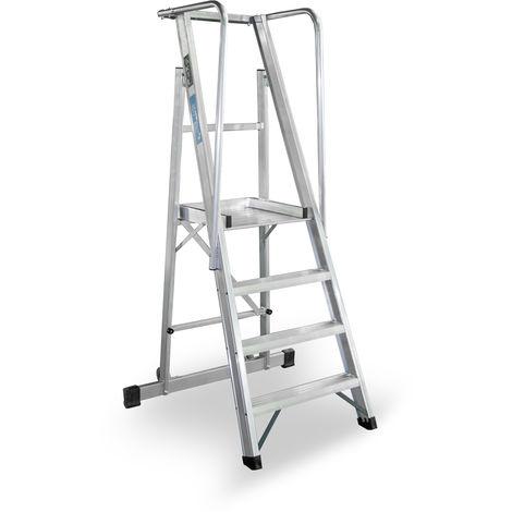 Escalera Plegable con plataforma y guardacuerpos 4 peldaños Móvil Profesional SERIE 2XL