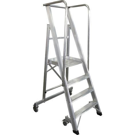 Escalera Plegable con plataforma y guardacuerpos 4 peldaños Móvil Profesional SERIE 2XL-S