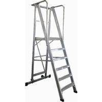 Escalera Plegable con plataforma y guardacuerpos 6 peldaños Móvil Profesional SERIE 2XL