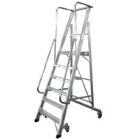 Escalera Plegable con plataforma y guardacuerpos 6 peldaños Móvil Profesional SERIE 2XL-S