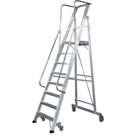 Escalera Plegable con plataforma y guardacuerpos 8 peldaños Móvil Profesional SERIE 2XL-S
