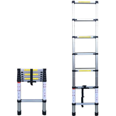 Escalera Plegable de Aleacion de Aluminio, 6.56FT (2m), 7 Pasos(no se puede enviar a Baleares)