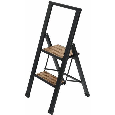 Escalera plegable de aluminio 2 peldaños negro Wenko