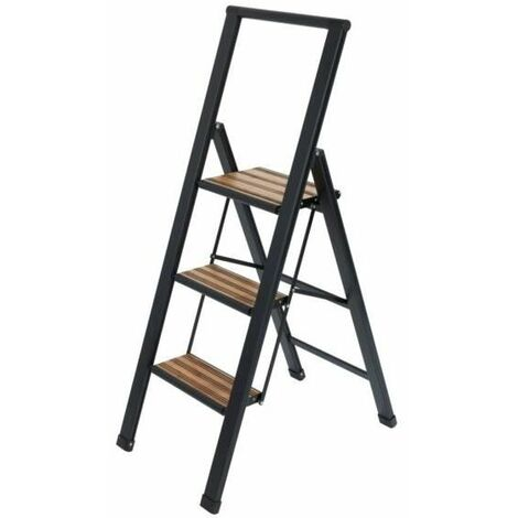 Escalera plegable de aluminio 3 peldaños negro Wenko
