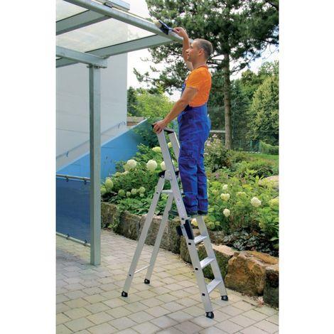 Escalera plegable de aluminio, acceso por un solo lado 1,83 m 5 peldaños