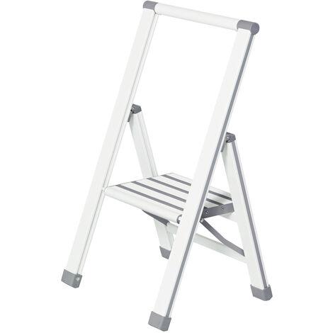 Escalera plegable en diseño de aluminio 1 peldaño, blanca WENKO
