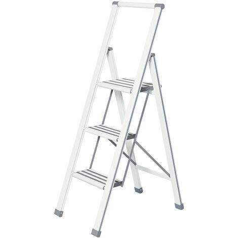 Escalera plegable en diseño de aluminio 3 peldaños, blanca WENKO