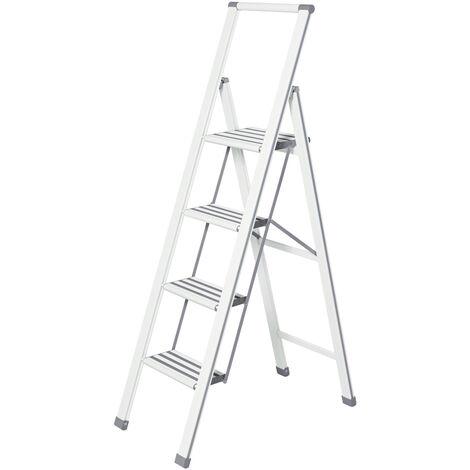 Escalera plegable en diseño de aluminio 4 peldaños, blanca WENKO